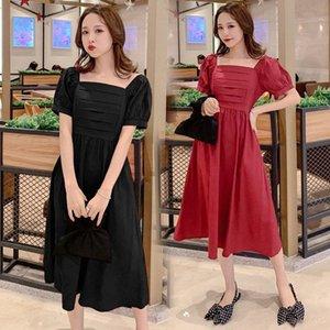 5383 # Still-Kleidung-Sommer-Fest Farbe Baumwolle Kurzarm lose stilvolles Kleid für schwangere Frauen Mom Kleid LRvr #