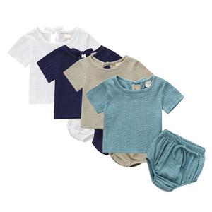 Fashion Baby Clothing Summer Toddler Baby Boys Girls Set Cotton Linen Kids Suit Shirt + Shorts 2PCS