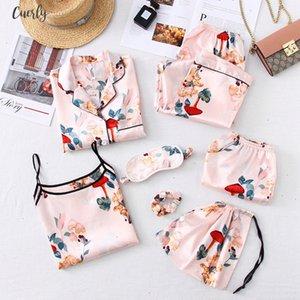 Sleepwear 7 Pyjamas Womens Strap Pieces Pink Pajamas Sets Satin Silk Lingerie Homewear Sleepwear Pyjamas Set Pijamas For Woman