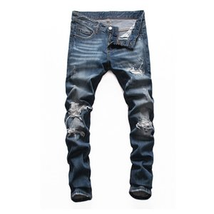 Mens Designer Jeans Denim Blue Torn Pants Best Version Tight Ripped Style Bike Motorcycle Rock Revival