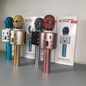V6 Беспроводная технология Bluetooth Микрофон Динамик Ручной микрофон караоке микрофон музыкальный плеер Поющие рекордер KTV Микрофон ПК Q7 Q9 WS-858
