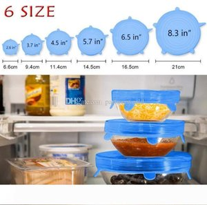 6PCS SET Silicone Stretch Lids Suction Pot Reusable Fresh Keeping Wrap Seal Lid Pan Cover Kitchen Tools Accessories Free Shipping