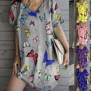Tasarımcı Mini Elbise Kısa Kollu Düz Yaz Elbise Kelebek Baskı Günlük Elbiseler V Yaka Gevşek Ev Rahat Womens Womens