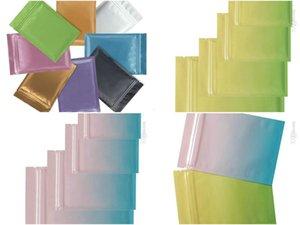 Multi Size Metallic Mylar Ziplock Beutel mit flachem Boden Gold Aluminium Foil Kleiner Reißverschluss-Verschluss-Plastiktaschen Gold-Schmuck-Beutel-Taschen bwkf qSXlh