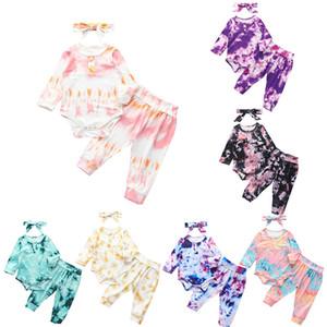 Осень New Baby Tie-краситель Одежда наборы с длинным рукавом Romper + брюки + ободки 3шта / устанавливает моды Младенцы мальчик девочку Gradient Эпикировка M2314
