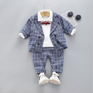 Autumn Children Baby Clothes Kids Boys Plaid Coat Long Sleeve Pants 3Pcs sets Toddler Fashion Cotton Clothing Infant Tracksuits