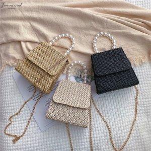 Summer Beach Straw Bag Crossbody Bags For Women 2020 Pearl Woven Rattan Women Shoulder Bag Ladies Clutch Bolso Mujer Hot