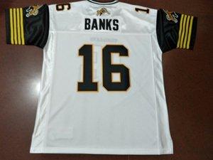 Пользовательские Мужчины Hamilton Tiger-Cats # 16 Brandon Банка реального Полных вышивок Колледж Джерси размера S-4XL или настраиваемый любое имя или номер джерси