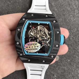 KV Super versione RM 055 NTPT Tutti in fibra di carbonio Caso Giappone NH automatico RM055 zaffiro Mens Watch Skeleton Dial gomma Designer Orologi sportivi
