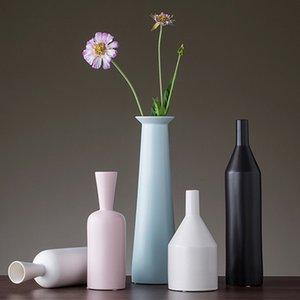 Moderne minimalistisch Keramik Vase Dekoration Schwarz-weiße Pflanze Vasen Tabletop Kunsthandwerk Jarrones decorativos moderno