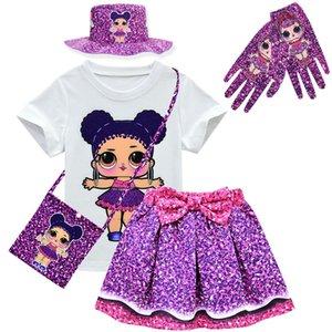 Lol doll surprise original model toys girl T-shirt+Skirt Set Lol Dress Girls Dress kid's Doll Cartoon Princess Girls Dress T200712
