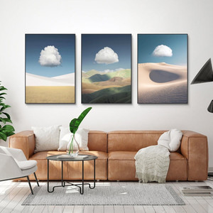 Nordic Desert Landscape Oil Painting on Canvas Mural Minimalist Wall Pictures for Living Room Scandinavian Wall Art Modern Home Decor