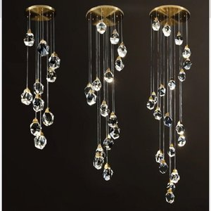 Luxury K9 Crystal Chandeliers Light Fixtures Copper crystal Stair pendant Lamp for Living Room Hotel hall Indoor Decoration Pendant lamp