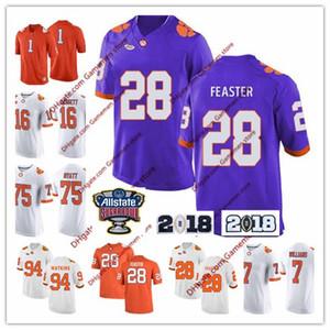 Custom #75 Mitch Hyatt #80 Milan Richard #85 Seth Ryan 2018 New Orange Clemson Tigers Purple White Stitched College Football Jerseys S-4XL