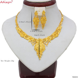 Adixyn la India joyería Set Gargantillas collar color oro / borlas pendientes de cobre para la mujer Dubai / regalos etíopes del partido N06084