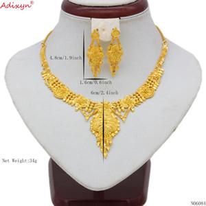 Adixyn 인도 보석 세트 숨 막히게 목걸이 골드 색상 / 여성 두바이 구리 술 귀걸이 / 에티오피아 파티 선물 N06084
