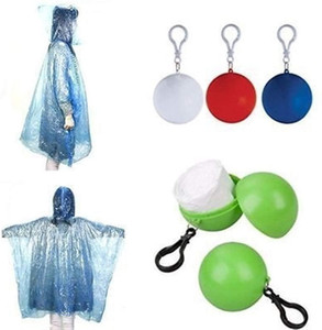 Catena a gettare Raincoat sfera di plastica usa e getta chiave impermeabili Custodia sferica Portable Viaggiare Escursionismo Camping Raincoat DHB13