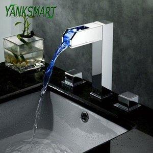 оптовые светодиодные Chrome Водопад Смесители для ванной на бортике ванны 3шт Набор смеситель Смеситель для раковины холодной кран горячей воды