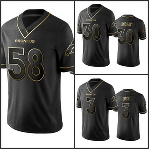DenverBroncosHommes # 58 Von Miller 30 Phillip Lindsay femmes jeunes StitchedNFL vapeur Intouchable limitée Golden Black Jersey
