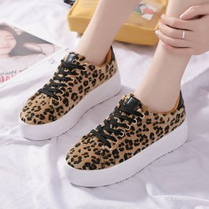 2020 new Fashion Shoe Leopard Print Women Platform Shoes Lace Up Breathable Durable Ladies Girls Love Daily Casual Board Shoe Flat Shoes