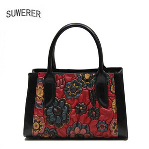 New Women Genuine Leather Bag Fashion Flower high quality luxury handbag women bags designer leather shoulder bag tote for