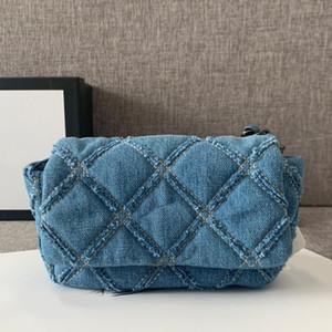 Weibliche Umhängetasche Messenger Bag Denim-Kasten-Beutel-Handtaschen-Qualitäts-Diamant-Gitter-Hardware-Ketten-Schulter-Beutel-freies Verschiffen-Segeltuch
