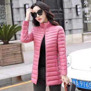 Winter Autumn Women Basic Jacket Coat Female Slim Hooded Brand Cotton Coats Casual Female Medium Long Jackets Jaqueta Feminina