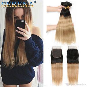 Bal Blonde # 1B 27 Düz İnsan Saç Paketler Brezilyalı Saç 3Bundles ile Kapatma ile Bebek Saç 4pcs Lot Ombre Dokuma Paketi ile Kapatma