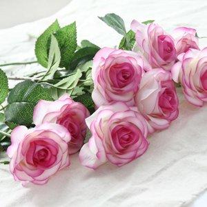 8 teste lattice Fiori fiore artificiale della Rosa per la casa per il matrimonio reale di tocco Roses Bouquet di fiori decorativi