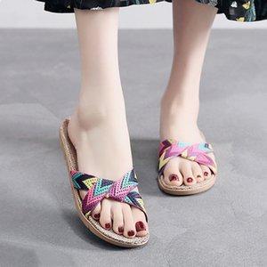 UPUPER Sommer-Breathable Frauen Flax Hausschuhe 2020 Sommer Trocken halten Paar Innenhauspantoffeln Leinen Anti-Rutsch-Strand-Schuhe