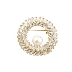 Circle Large Cubic Zirconia Brooches Pins Luxury Crystal Pearl Round Brooch For Women Wedding Elegant Jewelry Pin Badge Broches