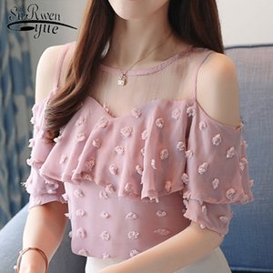 New 2020 Summer Fashion Solid Women Blouses Shirts O-Collar Lace Off Shoulder Wavy Ruffled Sleeve Chiffon Shirt Slim Top 0642 40 Y200622