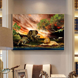 Lions Elephant Tree Landscape Canvas Painting Wildlife Animal Posters Prints Cuadros Wall Art Picture for Living Room Modern Home Decor