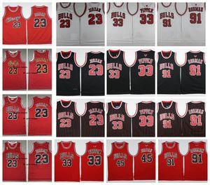 Vintage Mens ChicagoBullsThrowback 23 Michael 45 Scottie 33 Pippen 91 Dennis Rodman North College Stitched Red Basketball Jersey