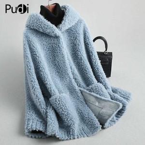 donne inverno Pudi vera lana giacca di pelliccia femminile delle pecore ragazza tosatura cappotti incappucciati signora pelliccia Parka cappotti A59428