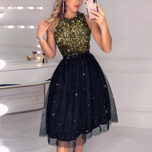Mesh Sleeveless Sequins Party Dress Women Dress