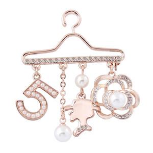 Hanger Broche numéro 5 Perle strass Rose écharpe boucle ardillon Collier Pin Badge utile et pratique