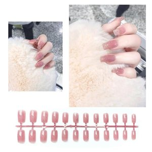2 Sets Pink Glitter Nail Art Stickers False Nail Tips Fake Tip Decals Stickers Manicure Decoration Stylish Pieces