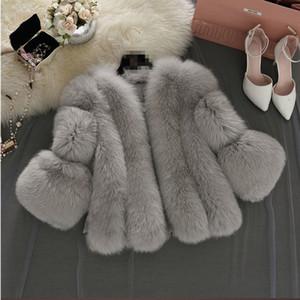 Women Short Fur Coat Winter Gray Fashion Faux Fur Coats Female Artificial Pink gray Jacket Thick Coat Outerwear 4XL