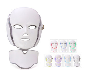 7 Color PDT LED Face And Neck Mask With Microcurrent LED Facial Mask Beauty SPA Phototherapy For Skin Rejuvenation Acne Remover Treatment