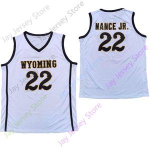 2020 NUEVO NCAA WYOMING COWBOYS Jerseys 22 Larry Nance Jr. JR College Basketball Jersey Tamaño Blanco Adulto juvenil