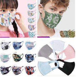 Nez visage Masque unisexe lavable réutilisable chiffon doux glace en soie coton camouflage masques d'impression de bande dessinée KKA7992