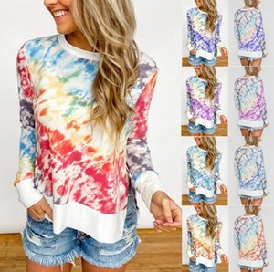Tie-dye printing gradient color round neck long sleeve t-shirt women Pullovers Long Sleeve Sweat shirts Soft Outwear Sweaters Tops CZ721