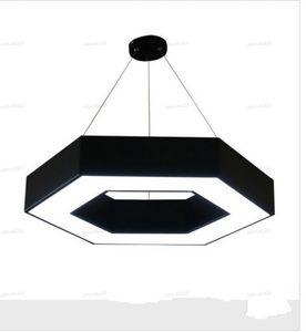 Moderne Sechseckige Kunst Geometrie LED Pendelleuchte Schwarz Aluminium LED Kronleuchter Lampe für Büro Home Shopping Mall Shop Lichter Beleuchtung
