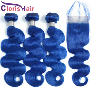Malaysian Virgin Body Wave Hair Weave 3 Bundles With Swiss Lace Closure 4x4 Blue Colored Human Hair Top Closures And Extensions Full Bundles