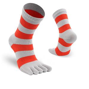 Meias Tubo Toe New Arrivals Mens Five Finger Toe Socks Cruz Cotton Stripe Masculino Fasion Casual Meias Anti-derrapante respirável Médio