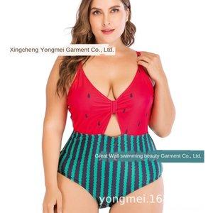 2019 Nova melancia impressa uma peça nv yi yong nv yi yong maiô das mulheres plus plus tamanho grande gordura swimsuit menina gorda