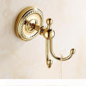 European Carving Towel Hook Bathroom Hardware Hanging Hook Wall Mounted Antique Round Base Towel Rack Robe Hook Gold Plated