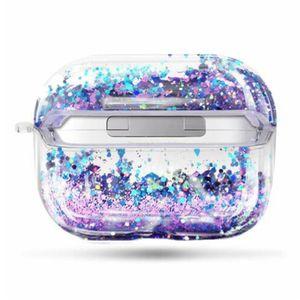AirPods için Pro Renkli Glitter Dinamik Sıvı Quicksand Crystal Clear Vaka AirPods 1 2 Şeffaf Kulaklık Kapak
