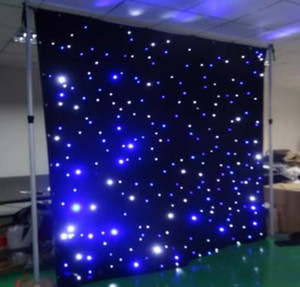 Free freight led star curtain 3mx8m wedding backdrop stage background cloth with multi controller dmx function